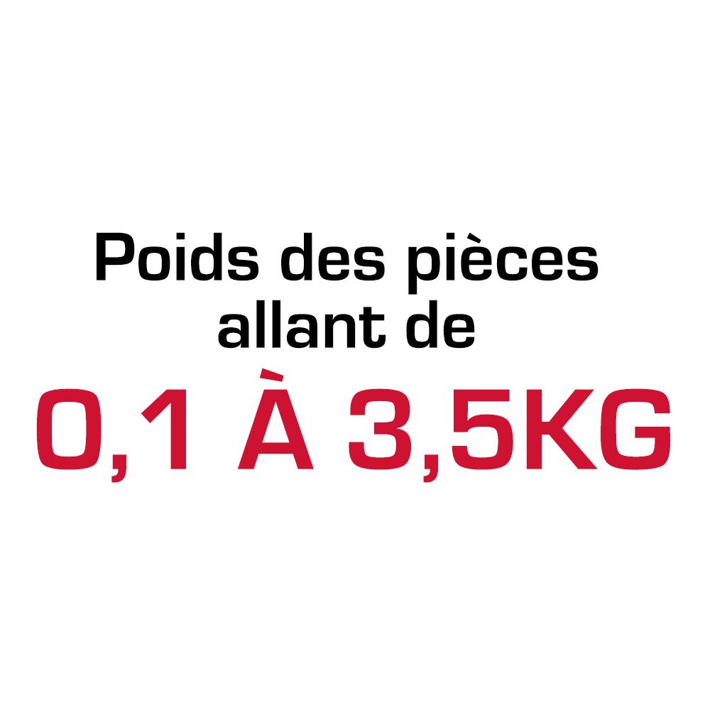 Poids des pièces allant de 0,1 à 3,5 kg
